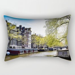 Lovely Spring Trees over a Canal in the Jordaan District in Amsterdam, Netherlands Rectangular Pillow
