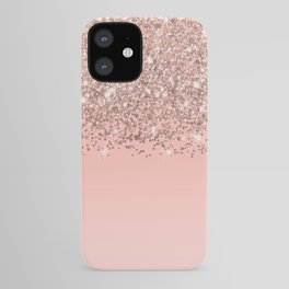 Girly Rose Gold Confetti Pink Gradient Ombre iPhone Case