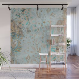 Pastel Botanical Watercolor Pattern Teal Gold Glitter Wall Mural