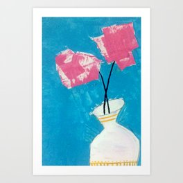 Carnations - an acrylic floral illustration in pink, blue, and yellow Art Print