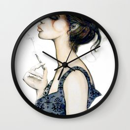 Smoke // Fashion Illustration Wall Clock