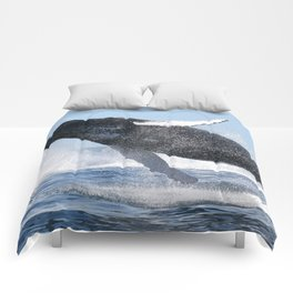 Humpback Whale Jumping High Comforters