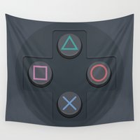 playstation Wall Tapestries featuring PlayStation - Buttons by dudsbessa