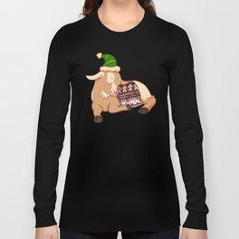 Sleeping Christmas Sweater Goat Long Sleeve T-shirt