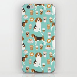 Beagle coffee print cute dog beagles coffees lattes iPhone Skin