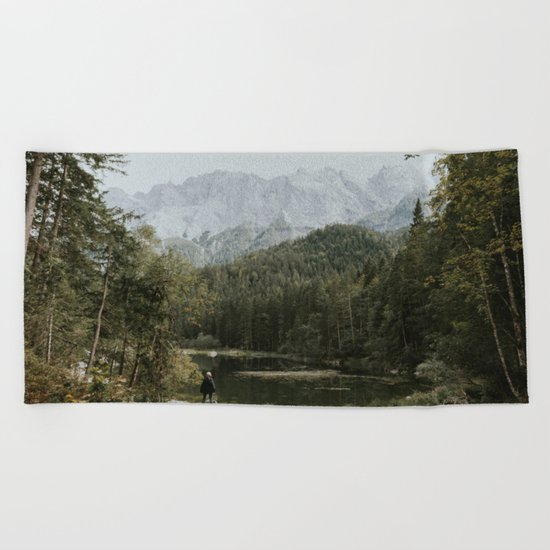 Mountain lake vibes II - Landscape Photography Beach Towel