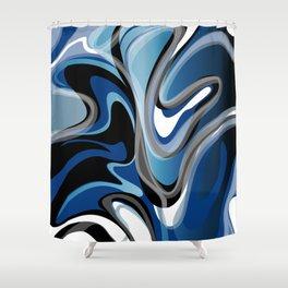 Liquify in Denim, Navy Blue, Black, White // Version 2 Shower Curtain