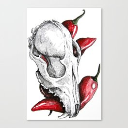 Skull with peppers Canvas Print
