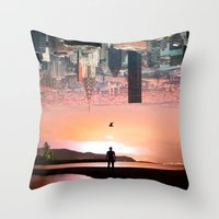 cityscape Throw Pillows featuring Cityscape by Enkel Dika