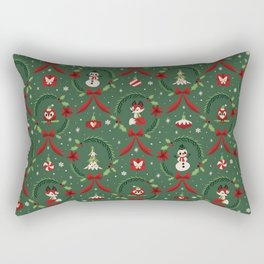 Winter Friends (Green) Rectangular Pillow