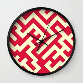 Cream Yellow and Crimson Red Diagonal Labyrinth Wall Clock