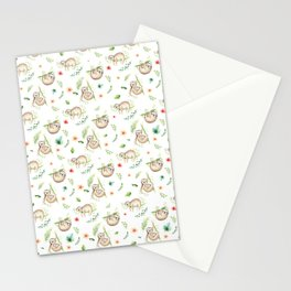 Modern green pink brown watercolor sloth floral pattern Stationery Cards