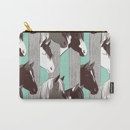 Waiting for the horse race // mint background Carry-All Pouch