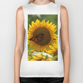 The butterfly the bee and the sunflower Biker Tank