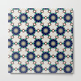 Moroccan geometric pattern blue green and off-white Metal Print