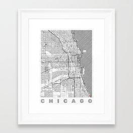 Chicago Map Line Framed Art Print