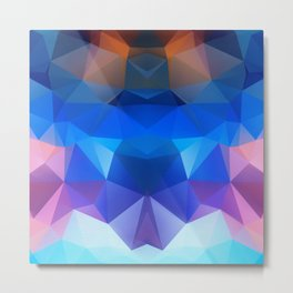 Abstract geometric polygonal pattern inih and pink tones . Metal Print
