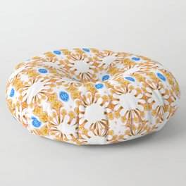 Lush Geometry Series Golden Floral with Sapphire Accent Floor Pillow