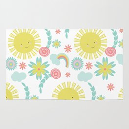 Sunshine Fun Rainbow Floral Pattern Rug