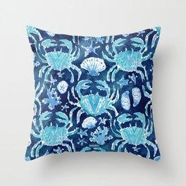 CRAB CONNECTION Indigo Blue Print Throw Pillow