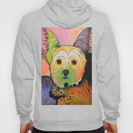 Daisy...Abstract animal pet portrait dog art, Yorkshire Terrier Hoody