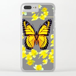 YELLOW MONARCH BUTTERFLY YELLOW DAFFODILS GREY ART Clear iPhone Case