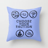 divergent Throw Pillows featuring Divergent - Choose your faction by Lunil