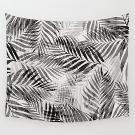 Palm Leaves - Black & White Wall Tapestry