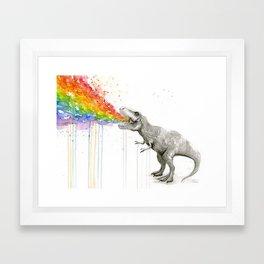 T-Rex Dinosaur Rainbow Puke Taste the Rainbow Watercolor Framed Art Print