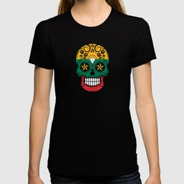 Sugar Skull with Roses and Flag of Lithuania T-shirt
