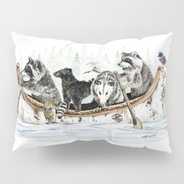 """ Critter Canoe "" wildlife rowing up river Pillow Sham"