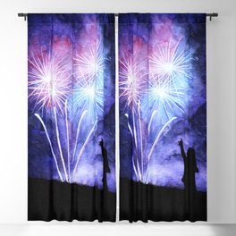 Blue and pink fireworks Blackout Curtain