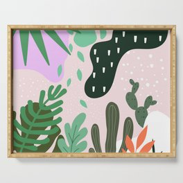 ABSTRACT PASTEL TROPICAL JUNGLE CACTUS PATTERN Serving Tray