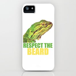 """Unique Green Iguana Reptile """"Respect The Beard"""" Gift T-shirt Design Perfectly Made For Reptile iPhone Case"""