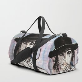 Ponja ~ Ink painting over vintage book's pages Duffle Bag