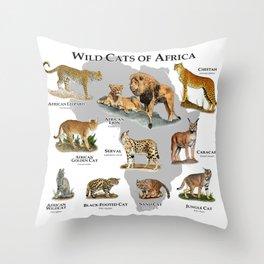 Wild Cats of Africa Poster Print Throw Pillow