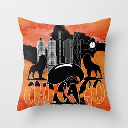 Chicago Iconic Landmarks Abstract Cityscape Throw Pillow