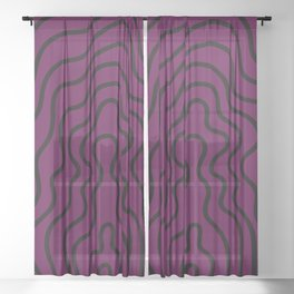 Music Line Vibes Eggplant Purple Sheer Curtain