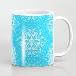 White Snowflakes stars ornament on Blue Coffee Mug