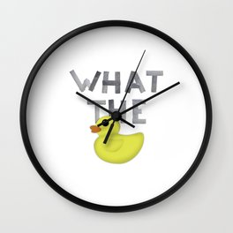 WHAT THE DUCK written with duck tape Wall Clock