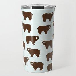 Brown Bear on Blue Background Travel Mug