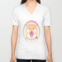 shiba inu V-neck T-shirts featuring Shiba Inu by daftmue