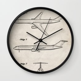 Boeing 777 Airliner Patent - 777 Airplane Art - Antique Wall Clock