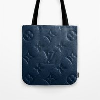 lv Tote Bags featuring Blue LV by I Love Decor