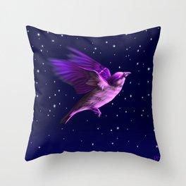 BIRD IN THE NIGHT Throw Pillow