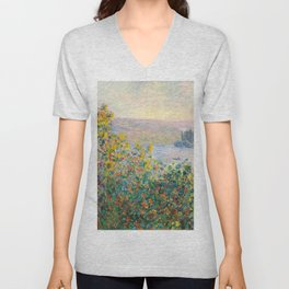 Flower Beds at Vétheuil by Claude Monet 1881 Unisex V-Neck