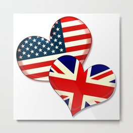 USA and UK hearts Metal Print