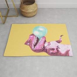 Bubble Gum Pink T-rex in Yellow Rug