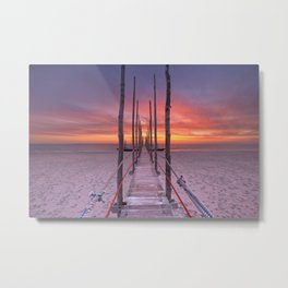 I - Seaside jetty at sunrise on Texel island, The Netherlands Metal Print