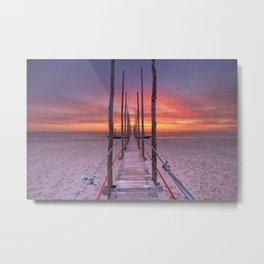 I - Seaside jetty at sunrise on Texel island, The Netherlands Metal Print